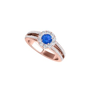 DesignByVeronica Sapphire Halo Ring with Split Shank and CZ Rows