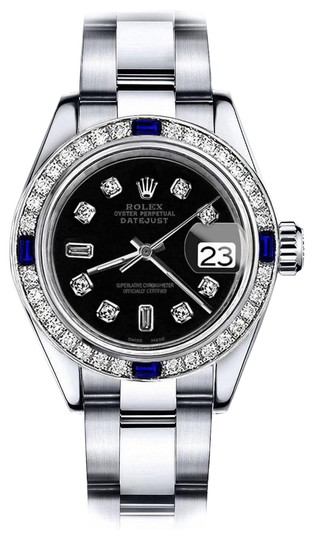 Preload https://img-static.tradesy.com/item/24222459/rolex-stainless-steel-black-82-26mm-datejust-diamond-and-sapphire-bezel-watch-0-1-540-540.jpg