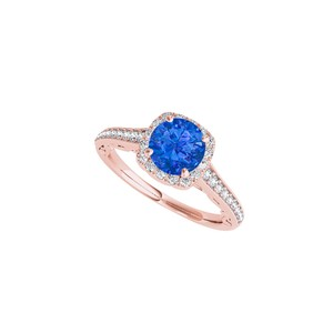 DesignByVeronica Rose Gold Vermeil Sapphire and CZ Halo Engagement Ring