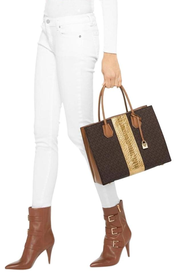 6c1e764ee7d5 MICHAEL Michael Kors Center Stripe Mercer Large Convertible Brown/Gold Brown/Gold  Coated Twill/Leather Tote