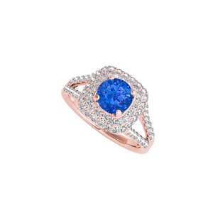 DesignByVeronica Sapphire and CZ Halo Ring in 14K Rose Gold Vermeil
