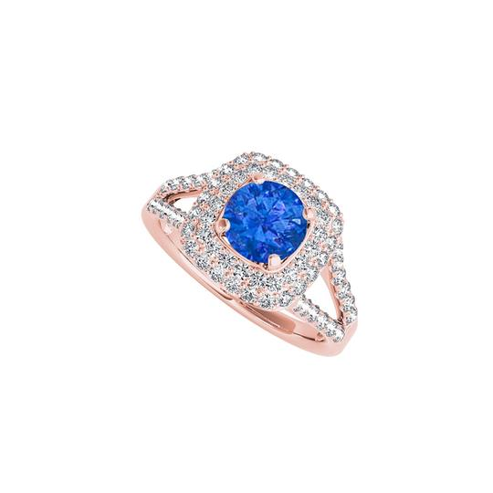 Preload https://img-static.tradesy.com/item/24222482/blue-sapphire-and-cz-halo-in-14k-rose-gold-vermeil-ring-0-0-540-540.jpg