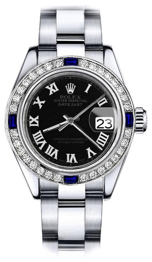 Preload https://img-static.tradesy.com/item/24222483/rolex-stainless-steel-black-roman-track-26mm-datejust-diamond-and-sapphire-bezel-watch-0-1-540-540.jpg