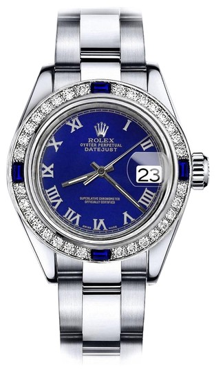 Preload https://img-static.tradesy.com/item/24222504/rolex-stainless-steel-blue-roman-26mm-datejust-diamond-and-sapphire-bezel-watch-0-1-540-540.jpg