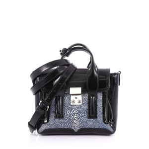 3.1 Phillip Lim Pashli Leather Stingray Satchel in Blue and Black