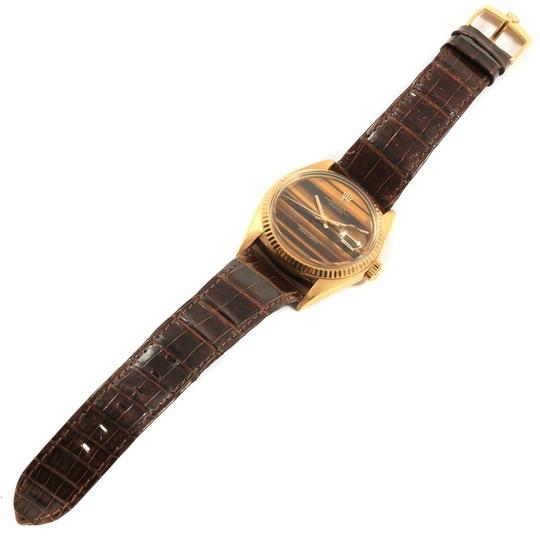Rolex Rolex Datejust 18K Yellow Gold Tiger Eye Dial Vintage Mens Watch 1601 Image 9