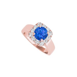 DesignByVeronica Sapphire CZ Halo Engagement Ring in Rose Gold Vermeil
