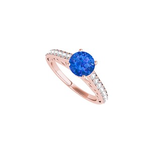 DesignByVeronica CZ and Round Sapphire Ring in 14K Rose Gold Vermeil