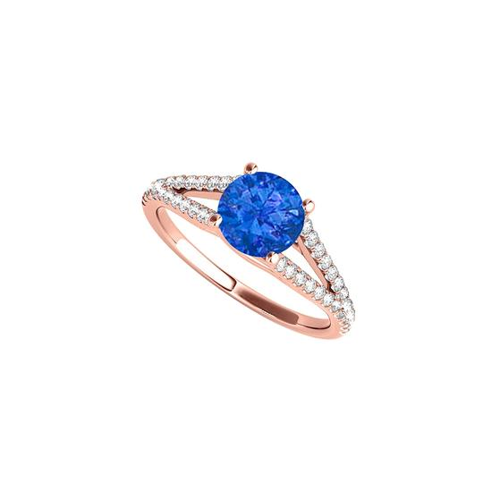 DesignByVeronica September Birthstone Sapphire and CZ Split Shank Ring Image 0