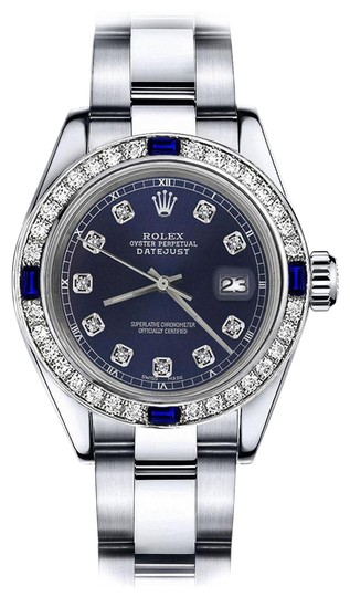 Preload https://img-static.tradesy.com/item/24222565/rolex-stainless-steel-navy-26mm-datejust-diamond-and-sapphire-bezel-watch-0-2-540-540.jpg