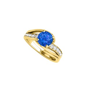 DesignByVeronica Sapphire and CZ Ring in 18K Yellow Gold Vermeil