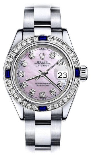 Preload https://img-static.tradesy.com/item/24222590/rolex-stainless-steel-pink-pearl-track-26mm-datejust-diamond-and-sapphire-bezel-watch-0-1-540-540.jpg