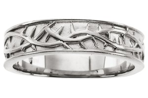 Apples of Gold CROWN OF THORNS BAND IN 14K WHITE GOLD