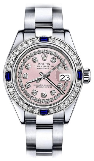 Preload https://img-static.tradesy.com/item/24222602/rolex-stainless-steel-pink-string-26mm-datejust-diamond-and-sapphire-bezel-watch-0-1-540-540.jpg