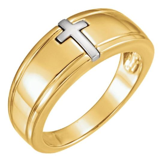 Apples of Gold TWO-TONE CHRISTIAN CROSS RING FOR MEN Image 1