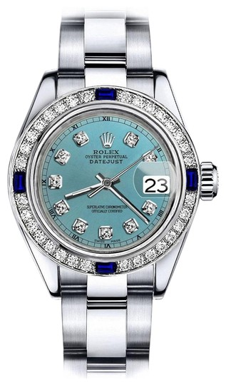 Preload https://img-static.tradesy.com/item/24222631/rolex-stainless-steel-turquoise-26mm-datejust-diamond-and-sapphire-bezel-watch-0-1-540-540.jpg