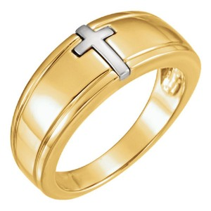 Apples of Gold TWO-TONE INLAID CROSS RING FOR WOMEN
