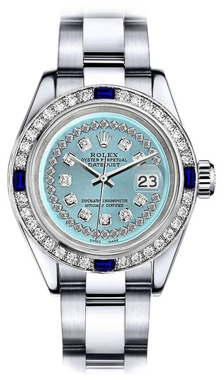 Preload https://img-static.tradesy.com/item/24222642/rolex-stainless-steel-turquoise-string-26mm-datejust-diamond-and-sapphire-bezel-watch-0-1-540-540.jpg