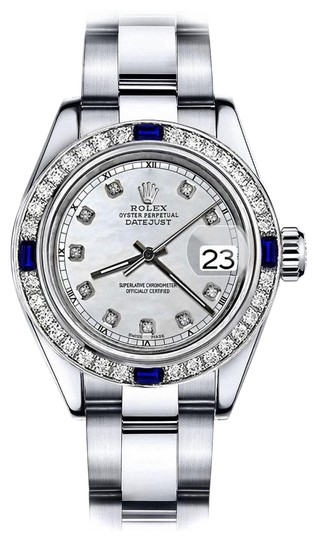 Preload https://img-static.tradesy.com/item/24222668/rolex-stainless-steel-white-pearl-track-26mm-datejust-diamond-and-sapphire-bezel-watch-0-1-540-540.jpg