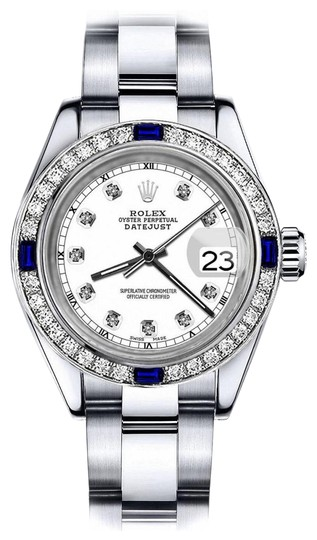 Preload https://img-static.tradesy.com/item/24222672/rolex-stainless-steel-white-track-26mm-datejust-diamond-and-sapphire-bezel-watch-0-1-540-540.jpg