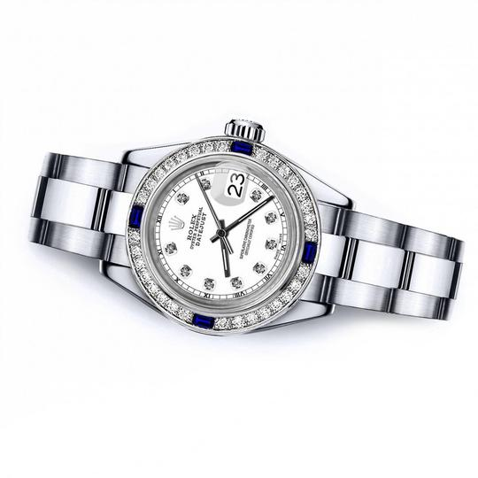 Rolex Rolex White Track 26mm Datejust Diamond & Sapphire Bezel Image 1