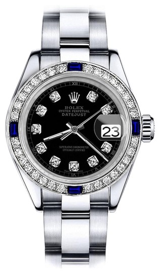 Preload https://img-static.tradesy.com/item/24222684/rolex-stainless-steel-women-s-black-track-26mm-datejust-diamond-and-sapphire-bezel-watch-0-1-540-540.jpg