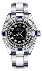 Rolex Women's Rolex Black String 26mm Datejust Diamond & Sapphire Bezel