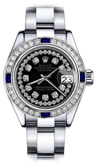 Preload https://img-static.tradesy.com/item/24222706/rolex-stainless-steel-women-s-black-string-26mm-datejust-diamond-and-sapphire-bezel-watch-0-1-540-540.jpg