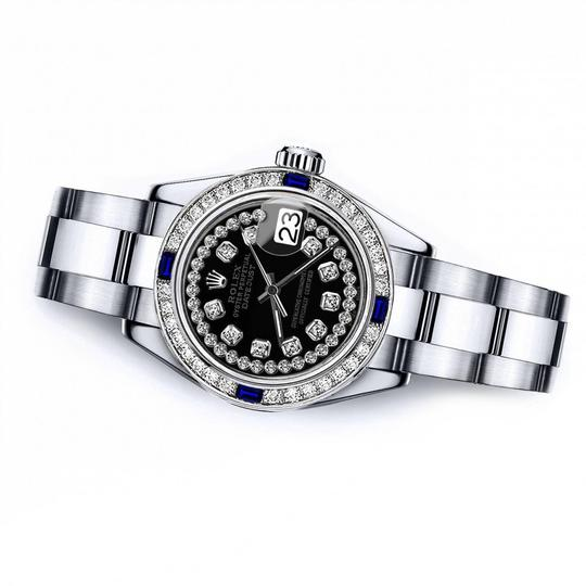 Rolex Women's Rolex Black String 26mm Datejust Diamond & Sapphire Bezel Image 1