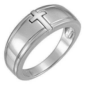Apples of Gold 14K WHITE GOLD MEN'S INLAID CROSS RING