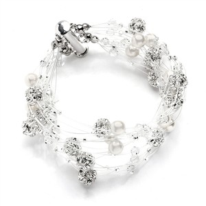 Mariell Sarah's Special 8-row Floating Pearl Crystal And Rhinestone Fireball Illusion Bridal Bracelet 4265b-8-i-cr-s