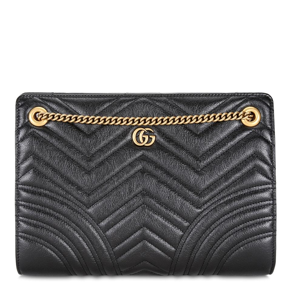 eb5cf57d330 Gucci Marmont Small Matelasse Black Convertible Calfskin Leather Shoulder  Bag