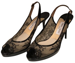 Jimmy Choo Patent Leather Leather Lace Party Black Pumps