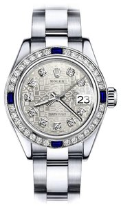 Rolex Women's Rolex White Logo 26mm Datejust Diamond & Sapphire Bezel