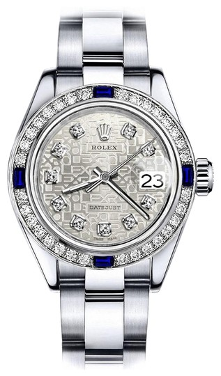 Preload https://img-static.tradesy.com/item/24222748/rolex-stainless-steel-women-s-white-logo-26mm-datejust-diamond-and-sapphire-bezel-watch-0-1-540-540.jpg