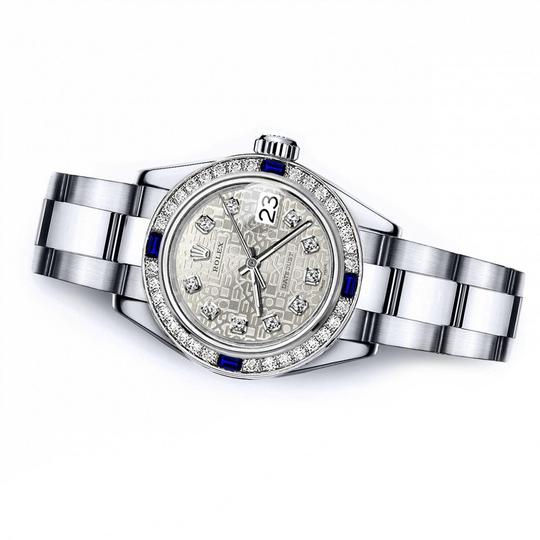 Rolex Women's Rolex White Logo 26mm Datejust Diamond & Sapphire Bezel Image 1