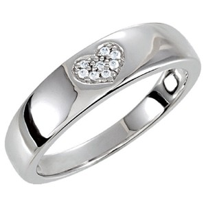 Apples of Gold SILVER CUBIC ZIRCONIA HEART BAND