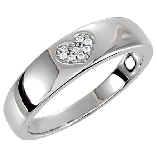 Apples of Gold SILVER CUBIC ZIRCONIA HEART BAND Image 2