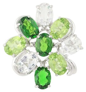 Other NEW Topaz, Peridot, & Chrome Diopside Ring - 14k Gold Cluster N9391