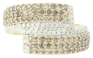 Other NEW Diamond Cluster Bypass Ring - 10k Yellow Gold Round Cut N9486