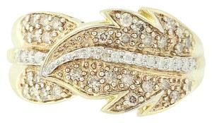 Other NEW Diamond Feather Bypass Ring - 14k Yellow Gold Round Cut N9490