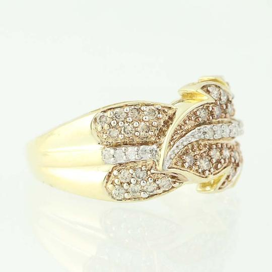 Other NEW Diamond Feather Bypass Ring - 14k Yellow Gold Round Cut N9490 Image 1