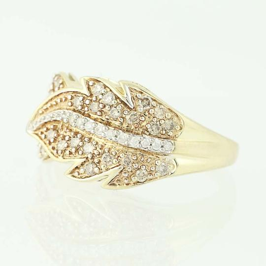 Other NEW Diamond Feather Bypass Ring - 14k Yellow Gold Round Cut N9490 Image 2