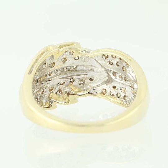Other NEW Diamond Feather Bypass Ring - 14k Yellow Gold Round Cut N9490 Image 3