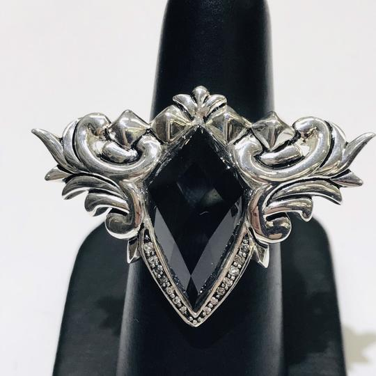 Stephen Webster Stephen Webster Superstud Baroque Silver Diamond Pave Slate Cat's Eye and Clear Quartz Crystal Haze Spike Ring Sterling Silver Pave Diamonds weighing 0.08 carats total weight 24.2 grams Size 7.25 100% Authentic Guaranteed!!! Comes with Original Stephen Webster Pouch!! Image 1