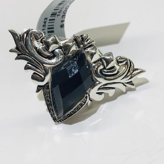 Stephen Webster Stephen Webster Superstud Baroque Silver Diamond Pave Slate Cat's Eye and Clear Quartz Crystal Haze Spike Ring Sterling Silver Pave Diamonds weighing 0.08 carats total weight 24.2 grams Size 7.25 100% Authentic Guaranteed!!! Comes with Original Stephen Webster Pouch!! Image 4