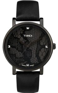 Timex T2P461 Originals Women's Black Leather Band With Black Analog Dial