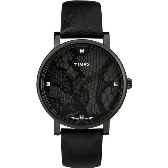 Timex T2P461 Originals Women's Black Leather Band With Black Analog Dial Image 1