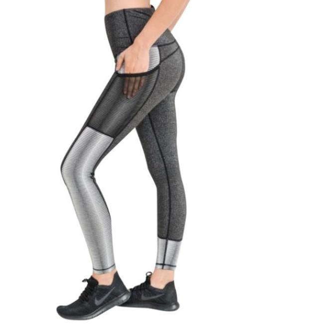 Mono B M Mono B Silver Yoga Pants Squat Proof High Waist Performance DJ2109 Image 2