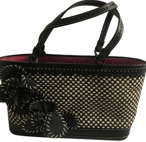 Isabella Fiore Satchel in Black and White with Pink Lining